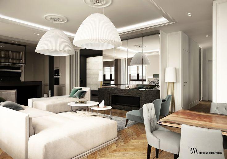 Nowoczesny salon ozdobiony lampami Axo Bell, kominkiem z granitu płomieniowanego i jadalnia z drewnianym stołem. http://bartekwlodarczyk.com/