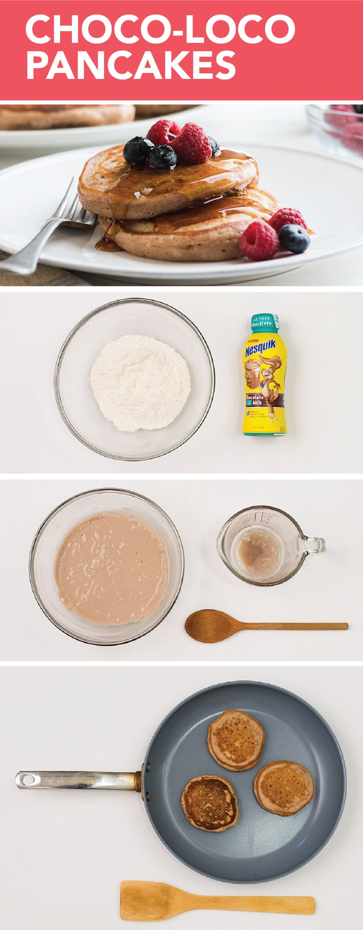 Incorporate a special twist on a traditional breakfast meal by making Choco-Loco Pancakes. Instead of using water, us Nestlé® Nesquik® Ready-to-Drink Chocolate Fat Free Milk to get that additional sweet taste.