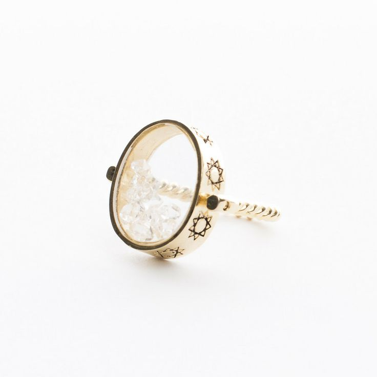Torchlight Jewelry | Herkimer Shake Ring 18K Gold Plated