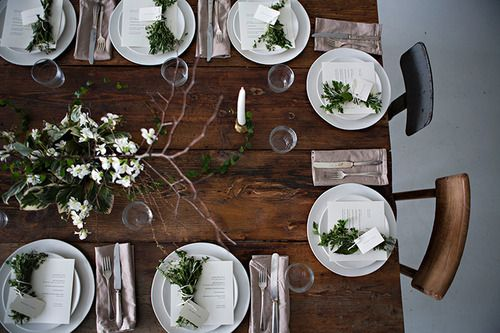 Dark wood with white plates + simple settings