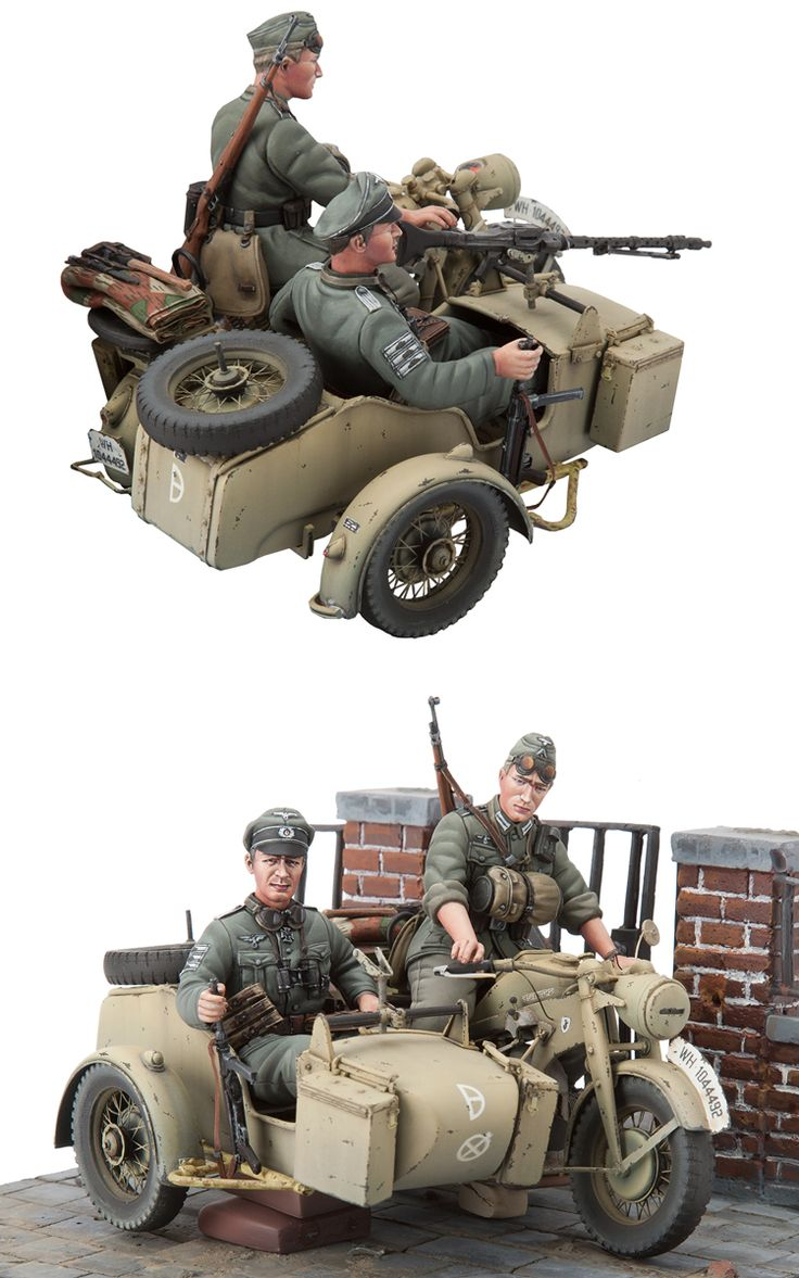1/16 resincast model Zundapp KS-750 with Sidecar&Troopers