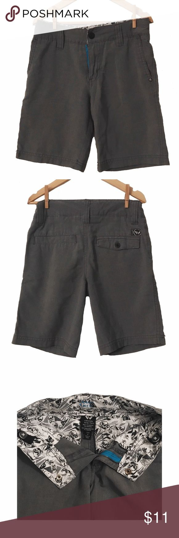 Shaun White Gray Boys Shorts Gray shorts with snap button & resizable, buttoned elastic in waist (see photo); 65% polyester 35% rayon Shaun White Bottoms Shorts