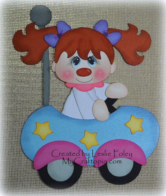 Car Clown Scrapbooking Embellishment Paper Piecing by MyCraftopia, $6.95