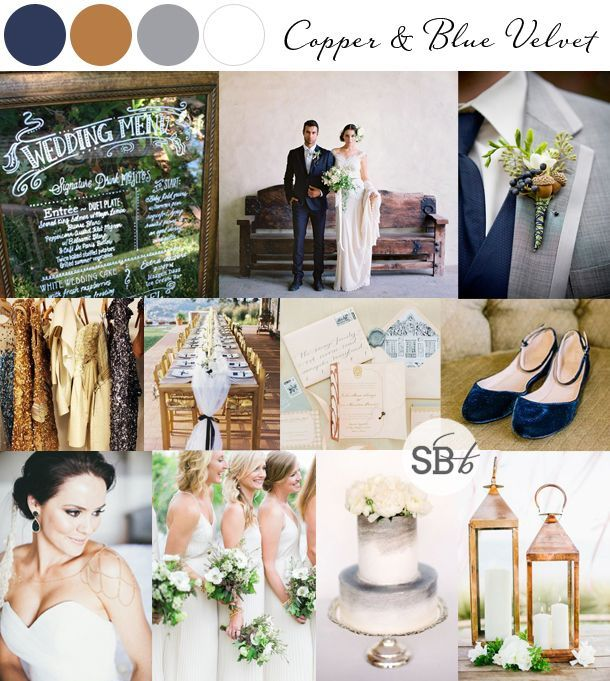 10 Autumn/Fall Colour Palettes: Copper & Blue Velvet | SouthBound Bride | Full credits & links: http://www.southboundbride.com/10-autumn-wedding-colour-palettes