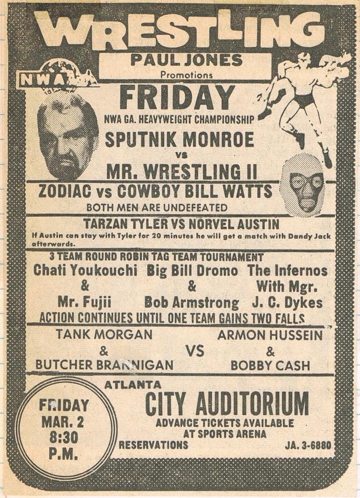 interesting main event with memphis legend sputnik monroe taking on mr  wrestling 2