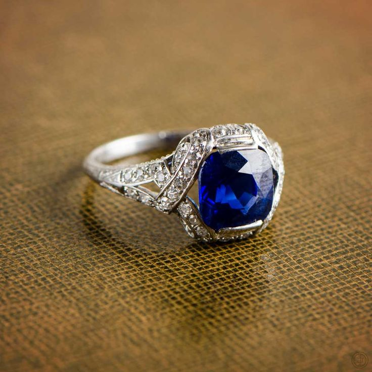 Rare Antique Sapphire Engagement Ring. Kashmir Sapphire Ring. Sold by Estate Diamond Jewelry