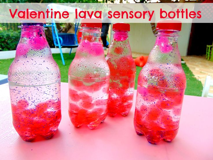 After having so much fun playing with the water beads, we decided to use them in a craft, ergo we made these beautiful Valentine lava sensory bottles!!!