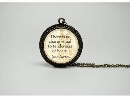 Vintage Style Glass Necklace with Jane Austen Pride and Prejudice