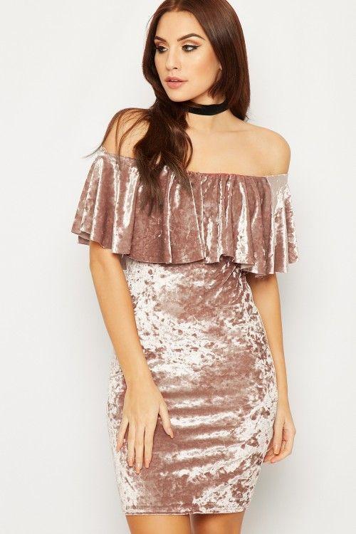 Samira Bardot Velour Mini Dress | WearAll