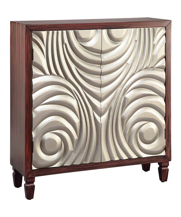 Gold & Dark Cherry Art Deco Cabinet