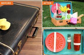 Cómo convertir una maleta vieja en una cesta de camping