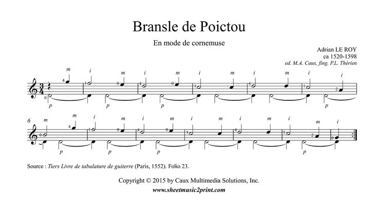 Le Roy : Bransle de Poictou http://www.sheetmusic2print.com/Le-Roy/Bransle-Poitou-2.aspx