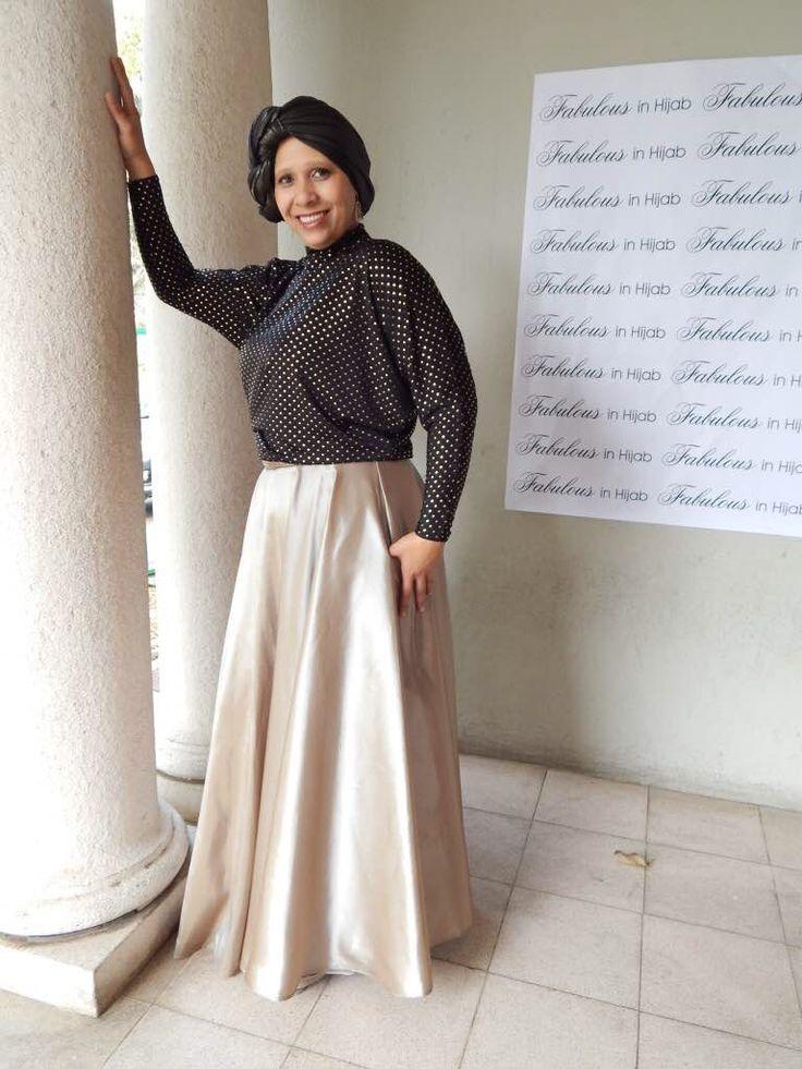 Full Circle Skirt with Gold stud T www.fabulousinhijab.co.za #HFWSA #eid2016