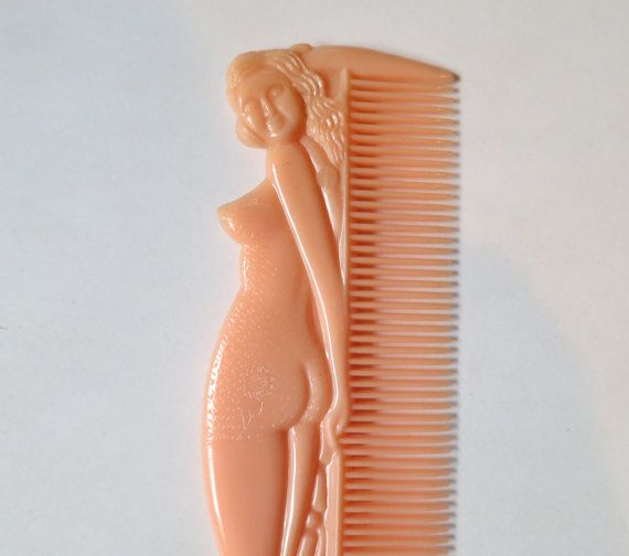 Nude Swimsuit Pin-Up Girl Shaped Comb - 1960s Promotional Novelty item, in my etsy shop