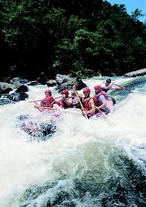 Whitewater rafting on the Natahala River.  Cherokee for Land of the Noonday Sun.