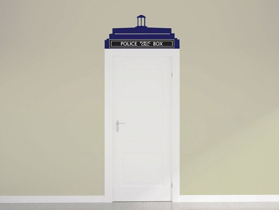 Doctor Who Tardis Call Box Door Topper Vinyl Wall Decal by Wall Jems Wall Decals maybe for the nursery