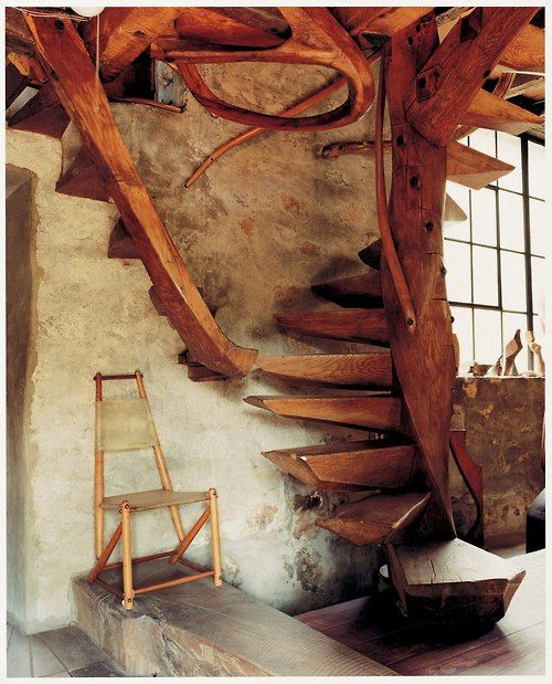 Three level spiral staircase in Wharton Esherick's home and studio, built in 1930.  The building, which served as Esherick's home from 1926 until his death in 1970, was declared a National Historic Landmark by the U.S. Department of the Interior in 1993.  It is now a Museum.  Esherick is generally acknowledged to be the Dean of American woodcraftsmen.: Interior, Handcrafted Modern, Stairs, Staircases, Handcraftedmodern, Mid Century, Book, House, Leslie Williamson