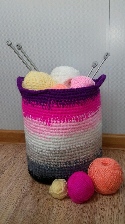 Купить Вязаная корзина - интерьерная, корзинка для мелочей, корзинка, для детей, для девочки, для мальчика, разноцветные