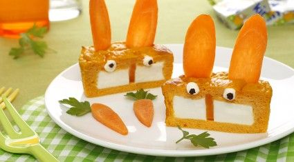Recette plat rigolo flans carottes au fromage Kiri® - les lapins Kiri® avec Kiri®