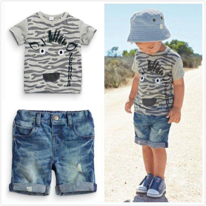 2017 Hot Sale Baby Kids Boy Clothes Summer style Short-sleeved T-shirt+Denim Shorts 2 Pcs/Suit Children's Boy Clothing Set www.peoplebazar.net    #peoplebazar
