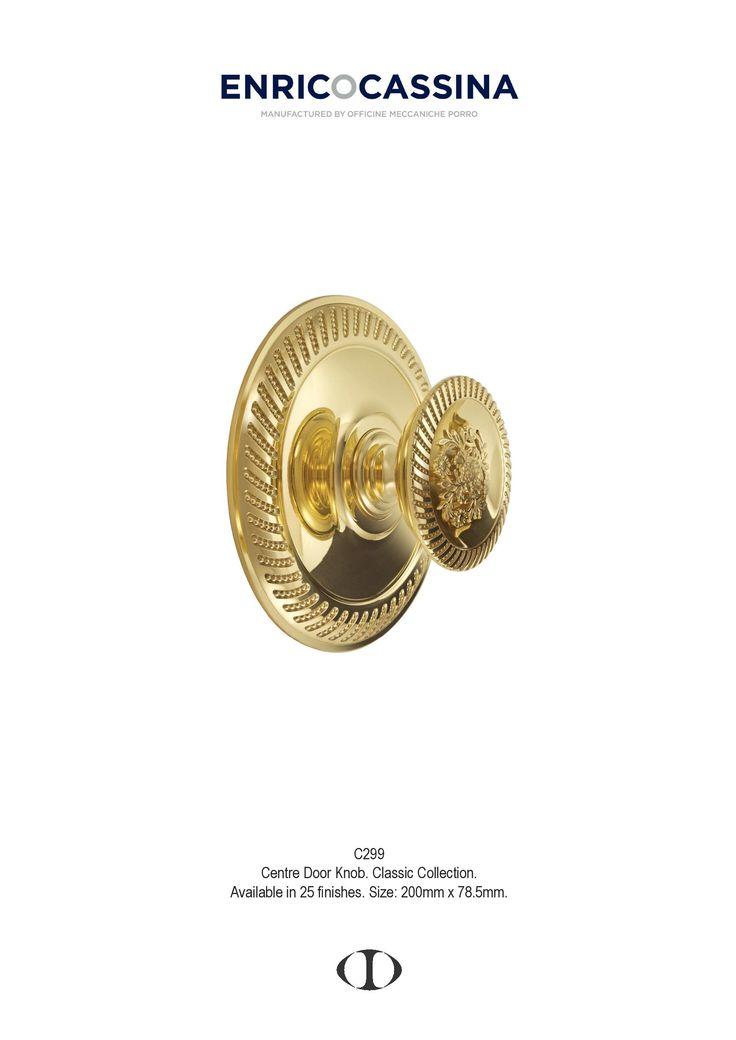 centre door knob, large, classic, design, polished brass
