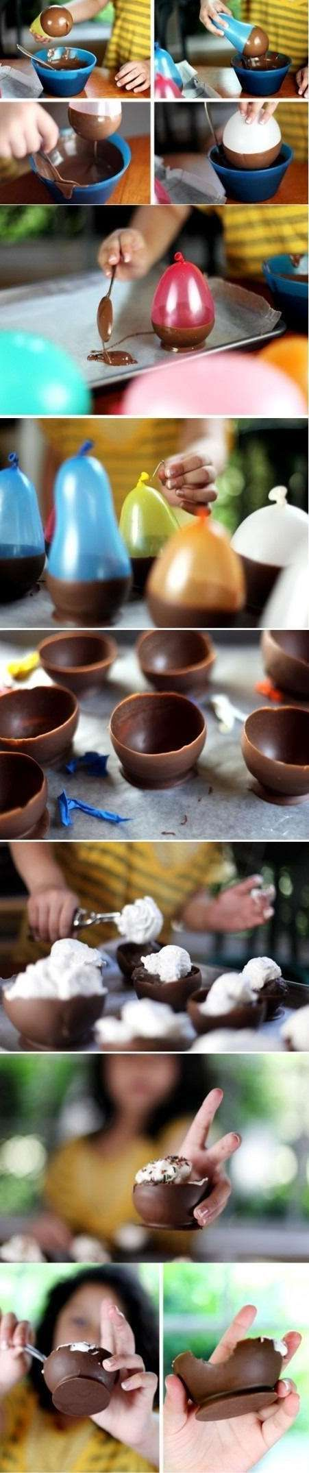 Chocolate Bowls. This is how you can make chocolate bowls for fancy deserts! I thought I needed a special mold to do it just shows how much I know. This is going to be tried out at my house next weekend