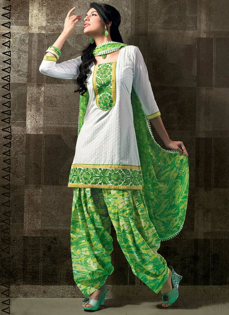 loving this green and white punjabi suit