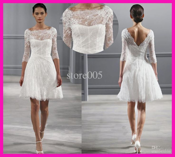 Wholesale Wedding Gowns - Buy Vintage Scoop A Line Short Lace Bridal Dress Wedding Gowns V Back With Sleeves W1889, $130.68 | DHgate