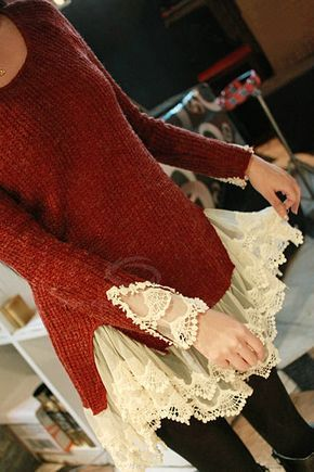 Sweet Scoop Neck Solid Color Splicing Lace Design Faux Twinset Long Sleeve Acrylic Fibers Sweater