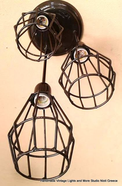 STUDIO NIOTIS: Vintage τρίφωτο φωτιστικό άνισο οροφής με χειροποί...