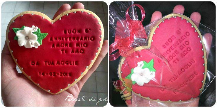 Anniversary- S.Valentine huge vanilla -cookie with heart shape ...