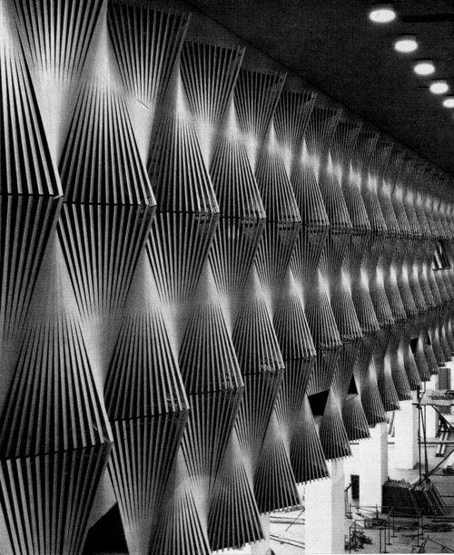 FAN-SHAPED ACOUSTIC WALL PANELS AT A CONGRESS HALL IN DÜSSELDORF, 1960s by K. FREYER