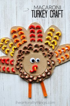 Mimic the texture of bird feathers with pasta and create this awesome elbow macaroni turkey craft. Fun Thanksgiving kids craft.