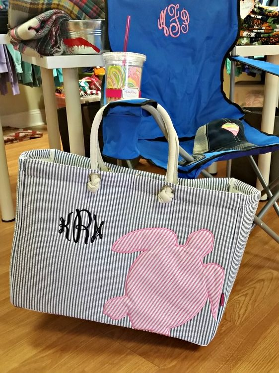 Monogrammed Tailgate Chair (blue) and seersucker tote. Perfect summer essentials!