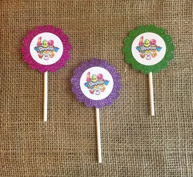 Shopkins Cupcake Toppers - Glitter - Shopkins Birthday Party Decorations Decor - Shopkins Birthday - Purple Green Pink - Set of 12