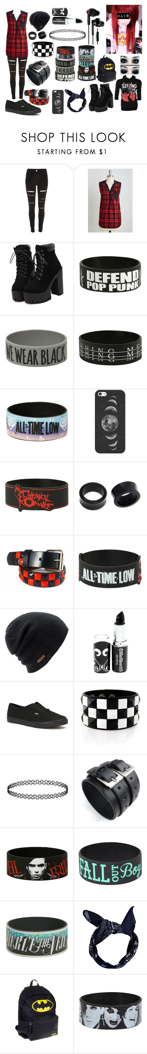 """""""Red Scene/Emo"""" by abipatterson ❤ liked on Polyvore featuring River Island, Hot Topic, Coven, Casetify, NOVICA, Coal, Vans and Yurbuds"""