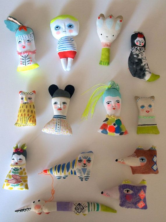 Miniature folk doll hand painted display art doll animals