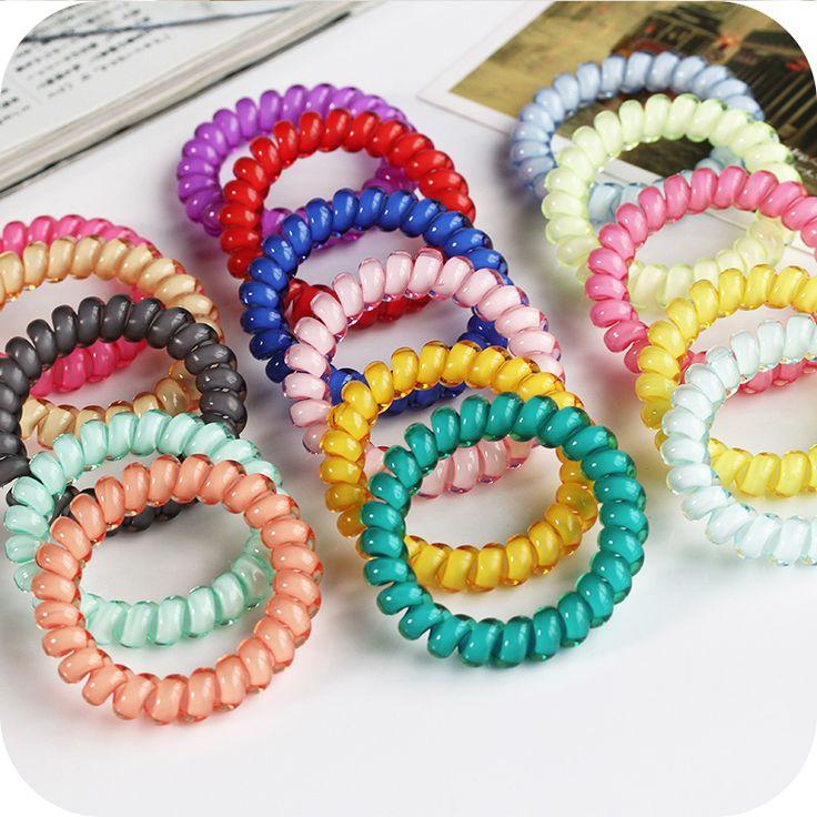 Baru Korea Warna Permen Saluran Telepon 5 CM Elastis Rambut Bando Untuk Wanita Aksesoris Gadis Rambut Band Karet Rambut tali