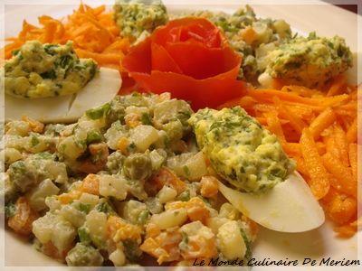 Je sais que la salade Macédoine est presque un classique, mais je pense que chacun a sa façon de la préparer, moi j'adore cette salade, surtout l'été, je la trouve succulente et rafraîchissante ... ça n'empêche qu'elle est bonne le long de l'année et...