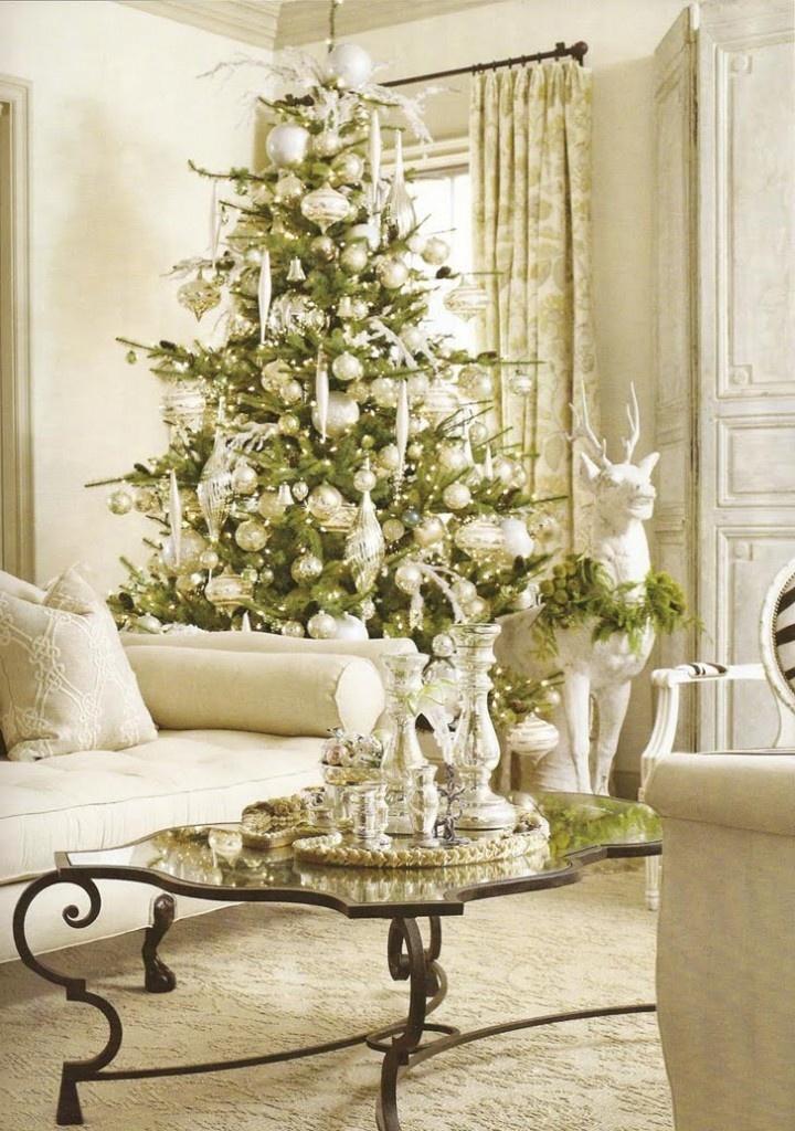White Christmas Interior Decor Idea In Living Room Image Wallpapers 01: White Christmas Interior Decor Idea In Living Room Image Wallpapers 01