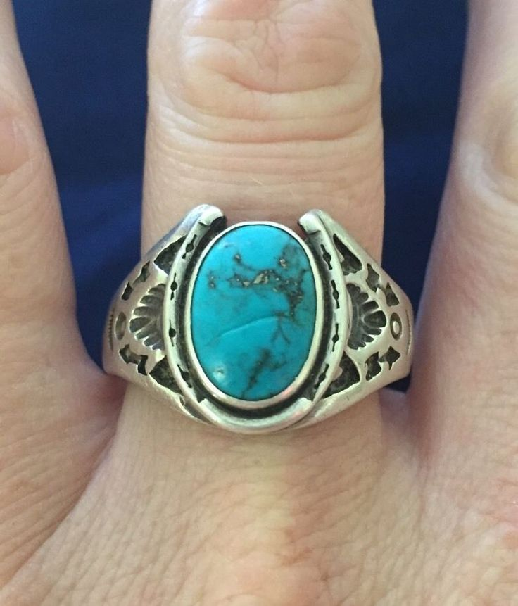 Sterling Silver Men S Turquoise Ring Vintage Tribal Sz 15 Horseshoe Indian Zuni Silver