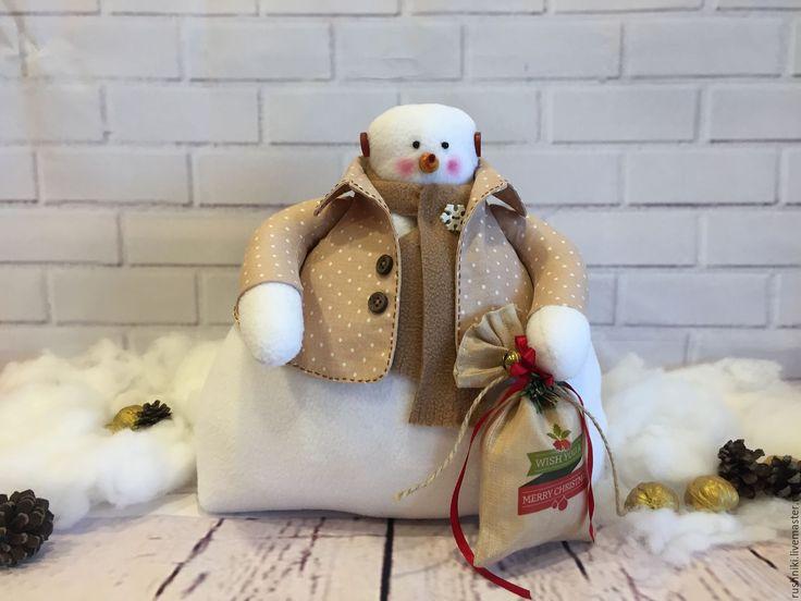 Купить Тильда снеговик - тильда, текстильная кукла, текстильная игрушка, подарок ребенку, подарок девочке