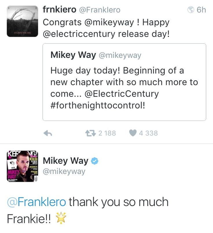 march 9th ✧ from frank iero and mikey way twitter