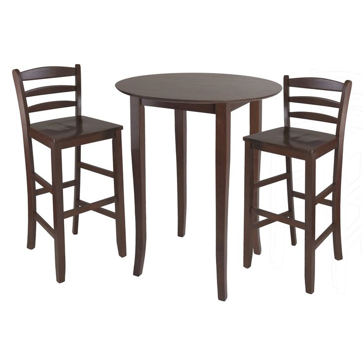Winsome Fiona 3 Piece High Round Table with Ladder Back Stool | from hayneedle.com