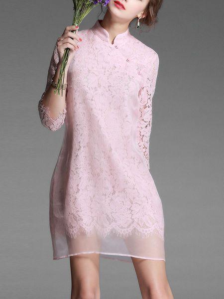 Sicheng.Lisha Toggle button Pierced Lace Mini Dress $76.00