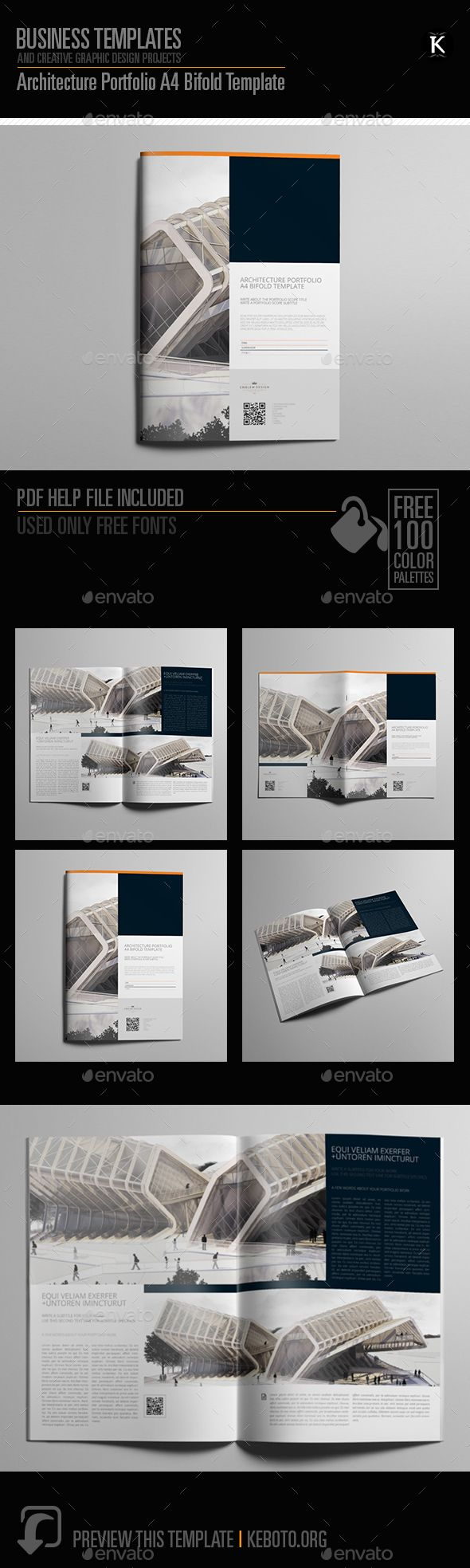 Architecture Portfolio A4 Bifold Template InDesign INDD