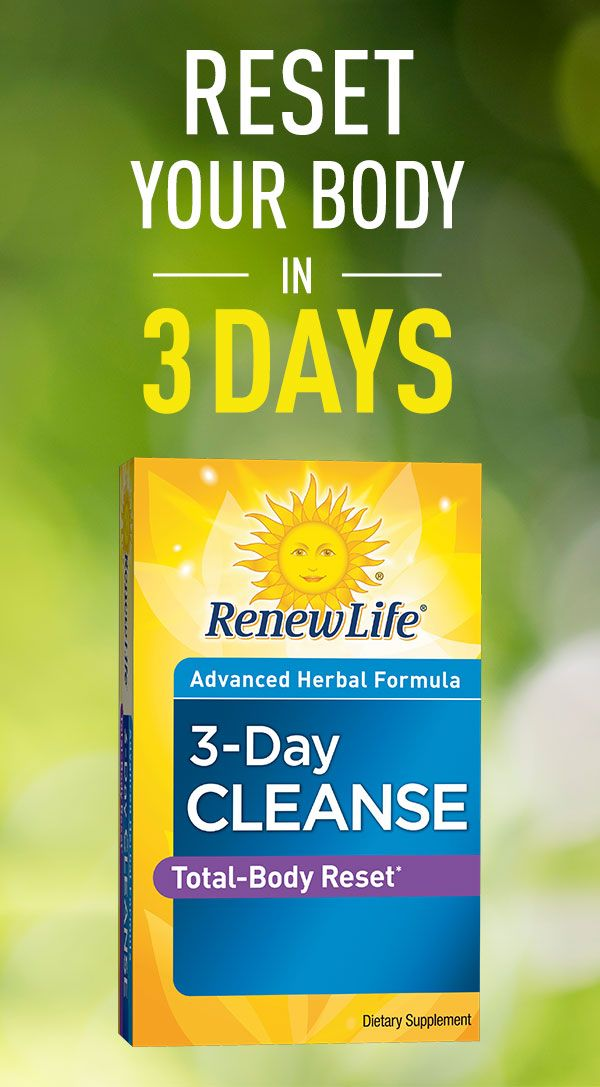 Reset, refresh, and restore with Renew Life® 3-Day Cleanse, a quick, easy-to-use, advanced herbal cleanse and detox formula that works with your body's natural metabolism to help eliminate waste and toxins, and relieve occasional bloating and constipation.