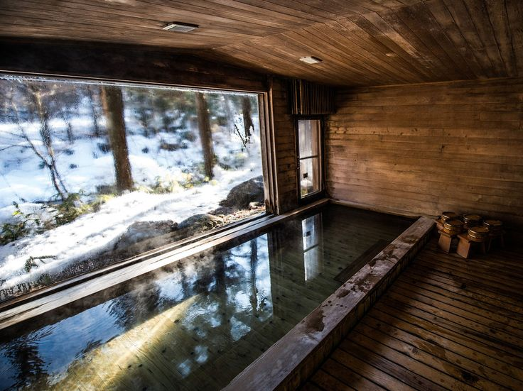 The ofuro,or hot tub, at Wanosato in Japan's Snow Country