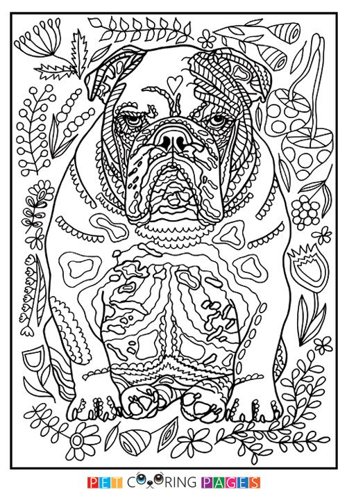 291 best images about dog on pinterest coloring for Free printable bulldog coloring page