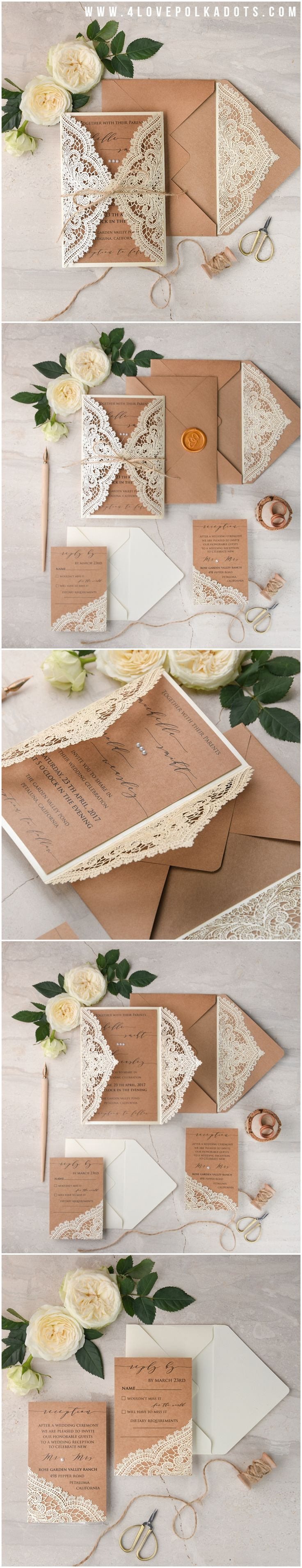 Laser cut Romantic Lace Wedding Invitations - calligraphy printing, wax stamping #romantic #elegant #weddingideas #eco #rustic #beautiful #lace